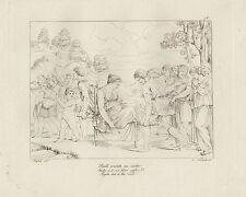 1805 Raffaello incisione in acciaio Psichè condotta alla roccia