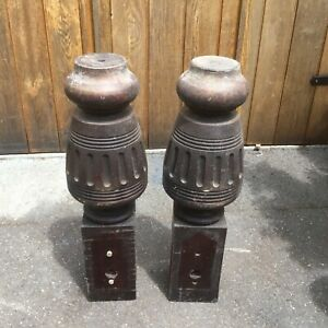 Two wooden legs from snooker table