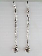 Dangling Silvertone Heart Chain Earrings