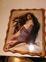Signed Original Z. Garcia Print of a Native American Woman Wood Lacquer Picture