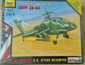 Zvezda AH-64 Apache U.S Attack Helicopter Hot War Snap Kit Plastic Model 1/144