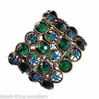 Turquoise Green Bracelet Diamante Stretch Cuff Design