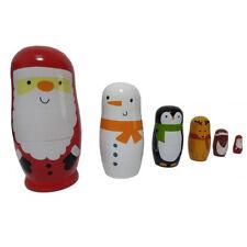Russian Wood Nesting Dolls Handmade Matryoshka Babushka Christmas Santa Claus Z