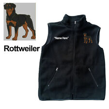 Rottweiler Dog Fleece Vest with Zippers Personal Name Stitched Monogrammed