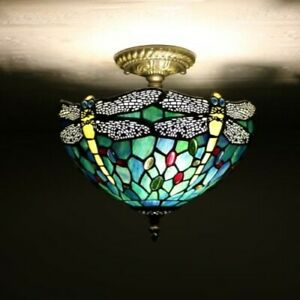 Dragonfly Green Blue Stained Glass  Antique Vintage Ceiling Lamp W12*H12 inch