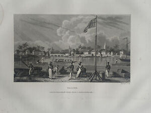 1853 View of Belize Engraving Original Antique Print