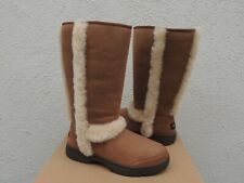 UGG CHESTNUT SUNBURST TALL SUEDE/ SHEEPSKIN BOOTS, WOMEN US 9/ EUR 40 ~NIB