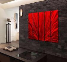 Red Modern Metal Wall Art, Large Abstract Panel Wall Sculpture Decor - Jon Allen
