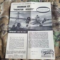 1963 AURORA Grumman sf2 hunter killer INSTRUCTIONS -FOR MODEL KIT