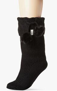 UGG Women's Rainboots Socks Sock 9 - 11 Shoe Size 5 -10 Pom Pom Tall Wool Blend