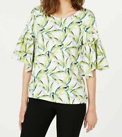 Alfani Top Boat Neck Bell Sleeve Blouse White Printed Green Size L NEW NWT 387