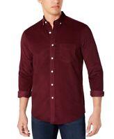 Club Room Mens Shirt Maroon Red Size Medium M Button Down Corduroy $55 #165