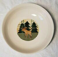 Lodge Rustic w/moose Folk Craft Stoneware Serving bowl.