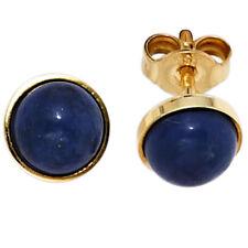Earrings Stud With Lapislazuli Blue 6,8mm Round 333 Yellow Gold Ladies