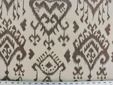 Drapery Upholstery Fabric Jacquard Tribal Ikat Design - Brown on Ivory