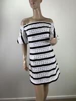 FOREVER NEW BLACK WHITE TEXTURED OFF THE SHOULDER MINI DRESS SIZE 12 (F00100)