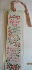"Vintage Graceline ""Alice"" Bookmark Quality Industries Woven Laminate Religious"
