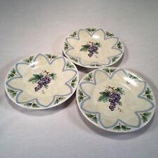 Pfaltzgraff MERLOT (set of 3) Luncheon / Salad Plates ~ Vineyard Grapes & Leaves