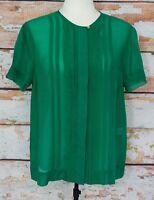 DESIGNER Malene Birger Green Silk ISARA Top Blouse Shirt Sz 36 Suit 8/10/12 EUC!