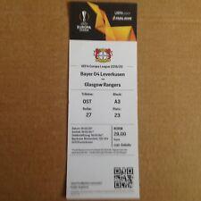 Bayer Leverkusen v Rangers ticket Europa league 19/3/20 Cancelled fixture