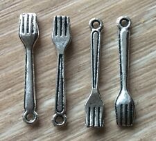 4x FORK Rockabily color argento charms artigianali