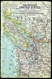 ⫸ 1960-4 April NW NORTHWEST USA US Vintage Original Map National Geographic A3