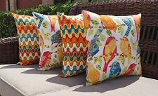 Red Orange Yellow White Teal Blue Birds and Flame Outdoor Throw Pillows - 4 Pack