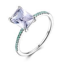 Cushion 8x6mm Genuine White Topaz Ring Genuine Treated Emerald 14k White Gold