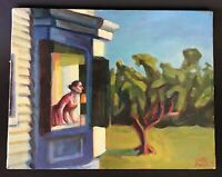 "Justin Forbes Oil on Canvas 1995 14"" X 11"" Woman Looking Out A Bay Window"