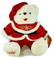"2000 WalMART CHRISTMAS Snowflake TEDDY BEAR White Girl 22"" Red/green Outfit nice"