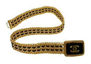 Rare CHANEL Vintage Coco Mark Logo Buckle Gold Chain Belt Leather RankAB