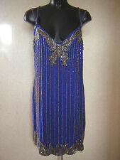 Little Mistress Embellished Heavily Beaded Flapper Blue Dress Size 16 NEW TAGS