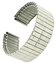18mm Hirsch Twist-O-Flex Silver Tone Stainless Middle Lines Mens Watch Band BOGO