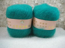 4*50g Skeins Luxury Angola Mohair Cashmere Wool Yarn Lot;Fine200g;Malachitegreen