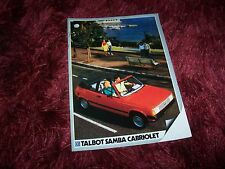 Catalogue / Brochure TALBOT Samba Cabriolet 1983 //