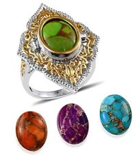 Turquoise Blue Orange Purple Green Ring  Size 7 Interchangeable