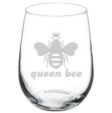 17oz Stemless Wine Glass Queen Bee