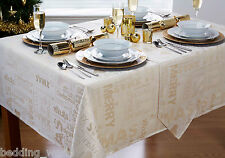 XMAS WORDS CREAM TABLE CLOTHS METALLIC GOLD HEART TEXT PARTY CHRISTMAS OCCASIONS