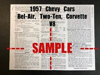 1957 Chevy Truck Model 3100 6500s V8 6 Wiring Diagram Tune Up Data Ebay