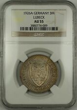 1926-A Germany 3 Mark Silver Coin Lubeck 700th Year Anniversary NGC AU-55 German