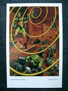 KELLY FREAS PLANET STORIES SIGNED PRINT SOUND OF THUNDER BY RAY BRADBURY