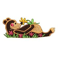 ID 0676 Cartoon Lazy Bear Patch Nature Flowers Wild Embroidered Iron On Applique