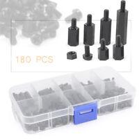 M3 Nylon PCB Standoff Spacer Hex Screw Nut Assortment Kit Box Sets Black 180PCS