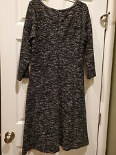 Talbots Womens Black White Berkley Tweed Fit N Flare Dress Size 12 EUC pockets