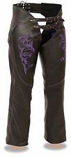 L and 2X Left Ladies Black Leather Chaps w Reflective Purple Tribal Embroidery