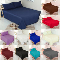 C&F Soft Plain Dyed Flat top sheet or Pillow Cases Single,Double,King Superking