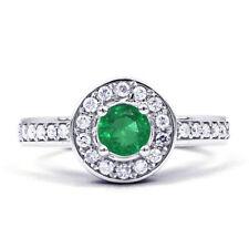 Emerald Cluster Not Enhanced White Gold Fine Rings