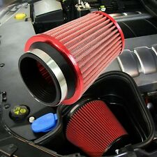 Red Universal 3' Car Air Filter Clean Intake High Flow Short RAM/COLD Round Cone