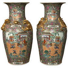 ON SALE NOW. Palatial Pair of Rose Medallion Export Chinese Vases