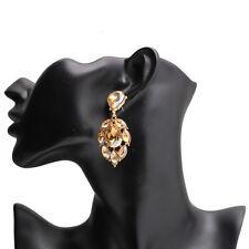 Champagne Crystal Chandelier Wedding Bridal  Jewelry  Austrian Earrings Women